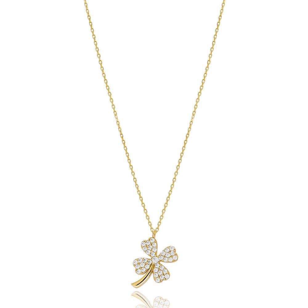 Minimal Four Leaf Clover Design 14k Gold Pendant