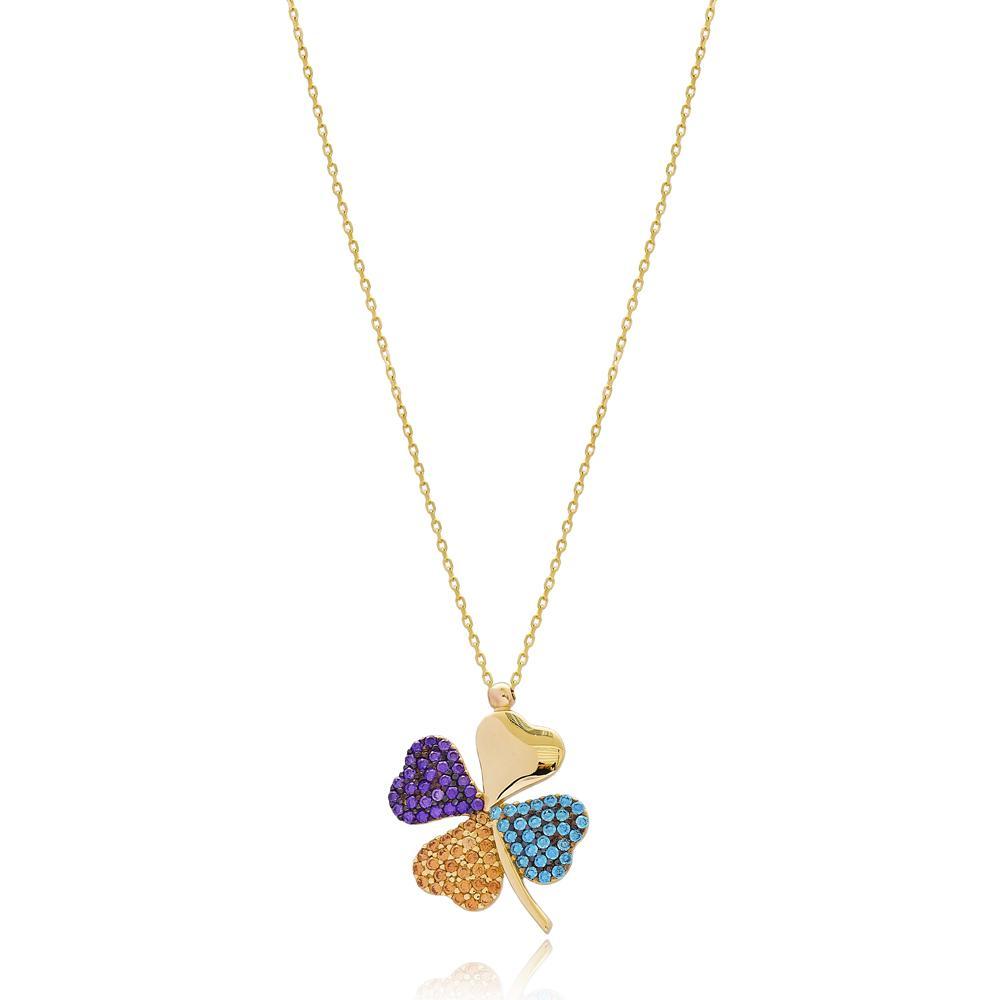 Colorful Four Leaf Clover Design Minimal 14k Gold Pendant