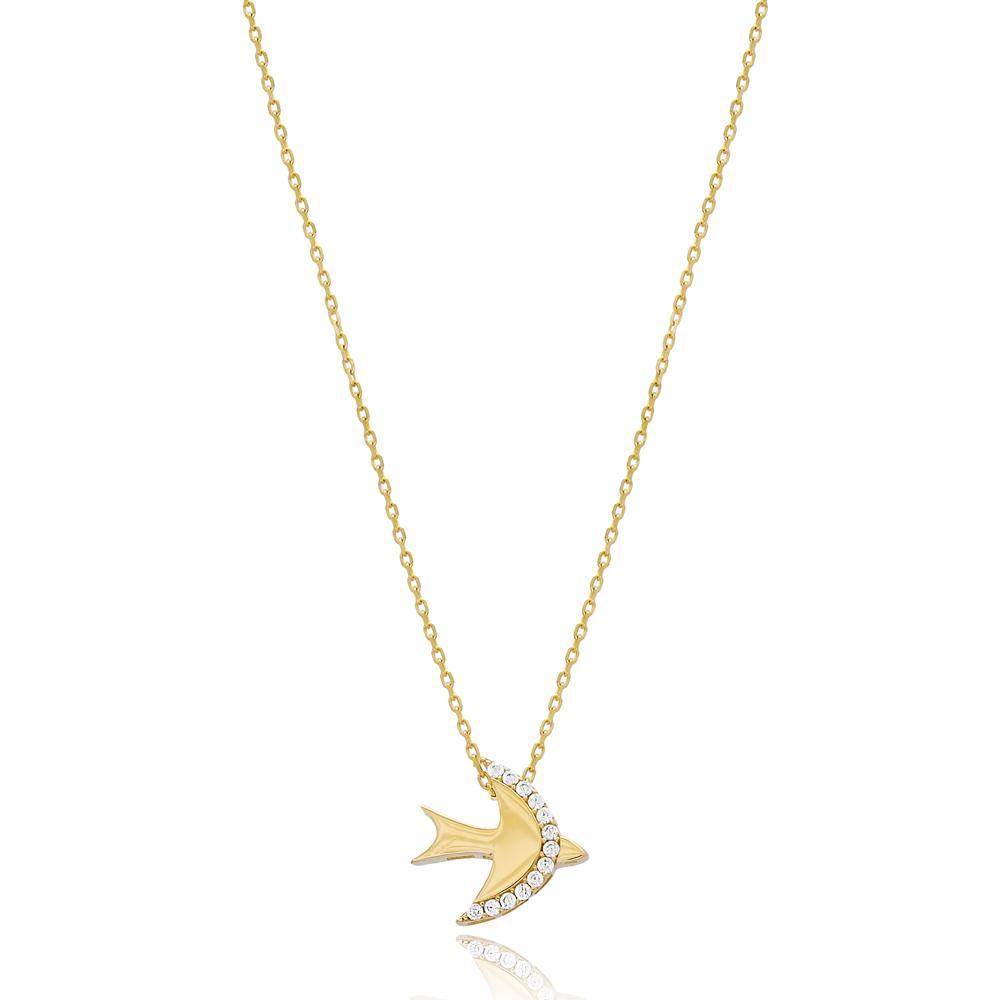 Minimal Swallow Design Wholesale Turkish 14k Gold Pendant