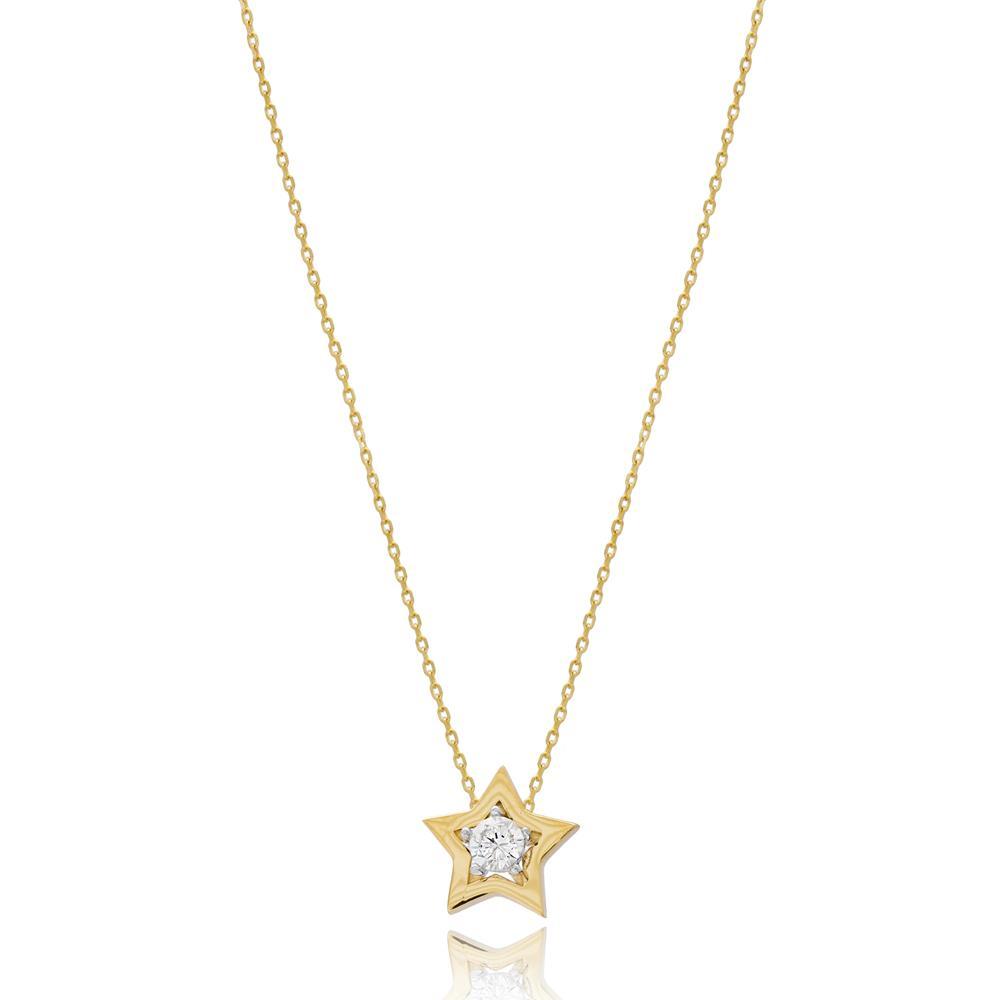 Minimal Star Design Wholesale Turkish 14k Gold Pendant