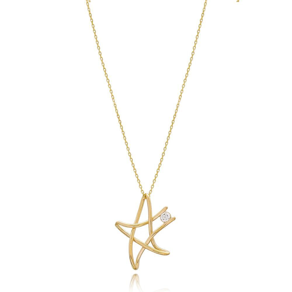 Wholesale Fashion Star Design Turkish 14k Gold Pendant