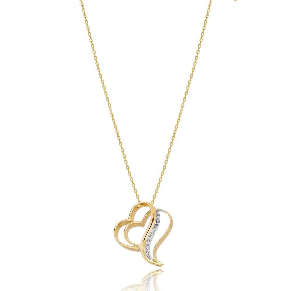Fashion Intertwined Hearts Design Turkish 14k Gold Pendant