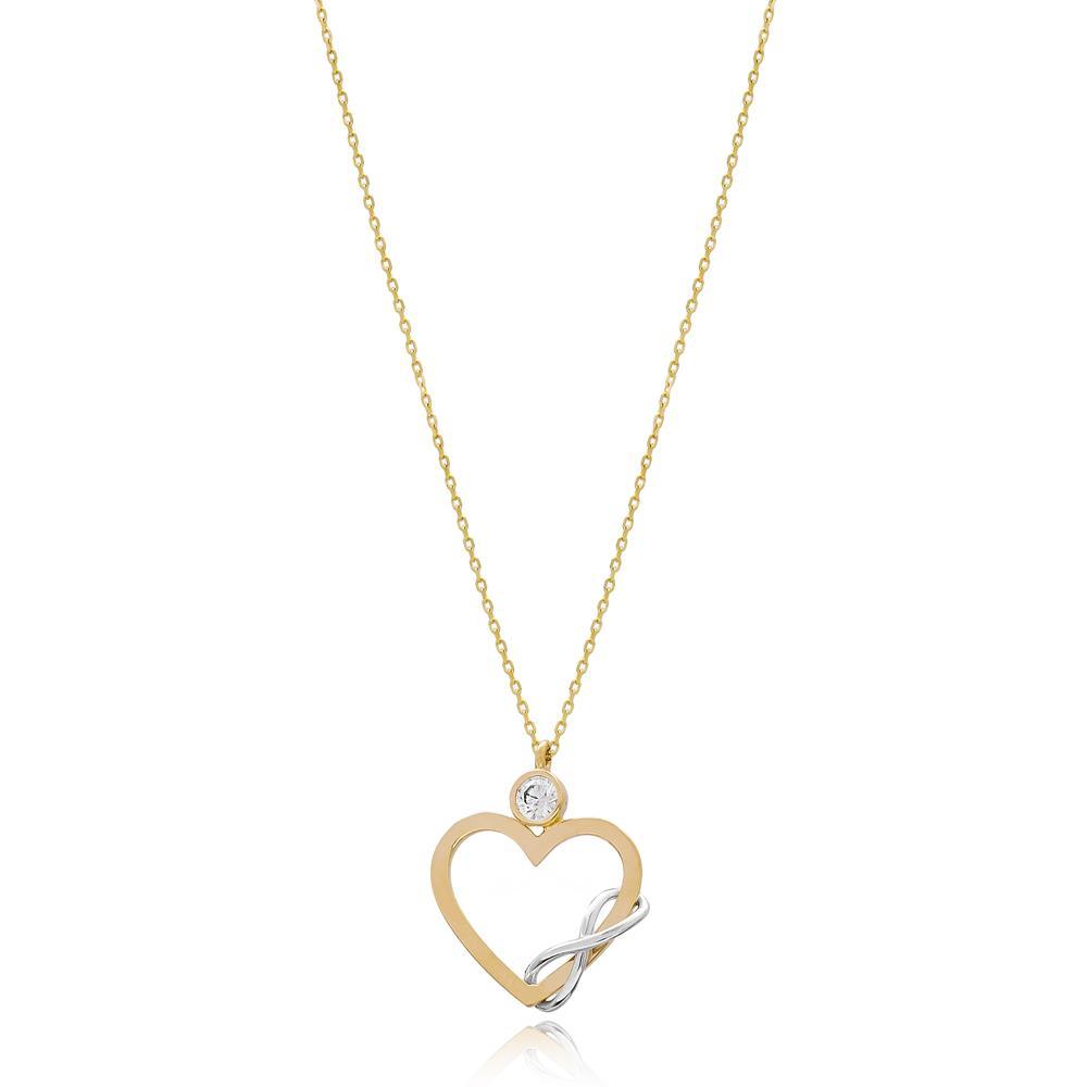 Interlocking Heart Infinity Turkish 14k Gold Pendant