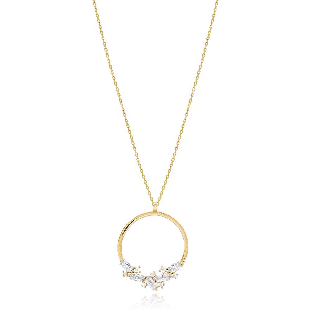 Baguette Stone Round Design Wholesale 14k Gold Pendant