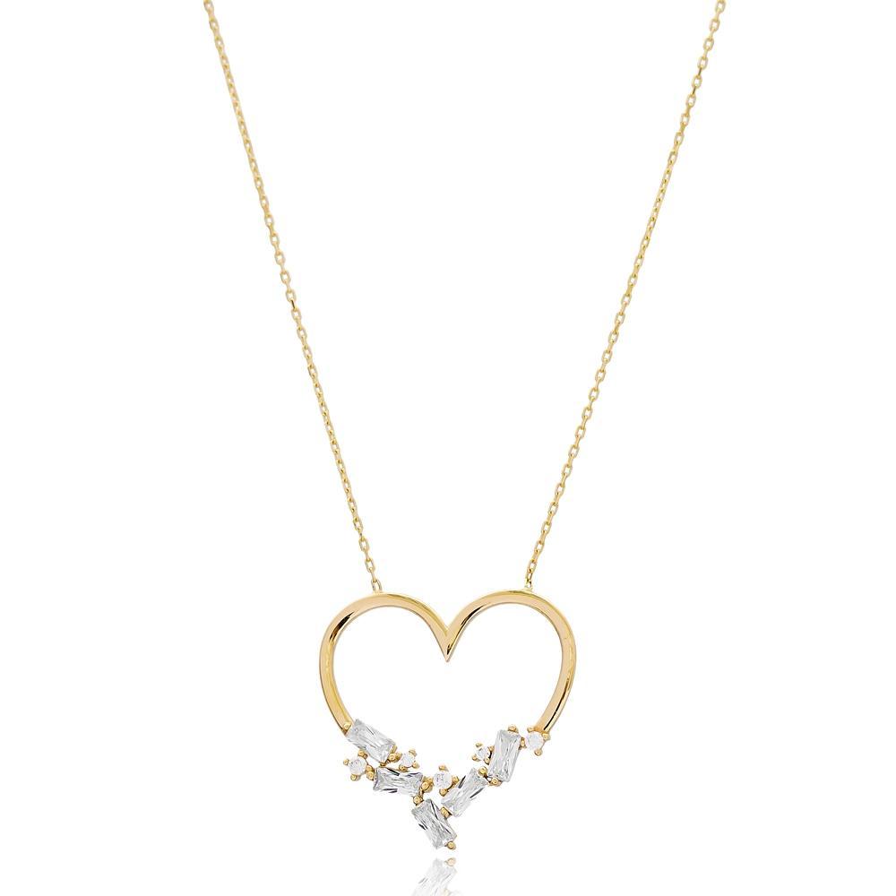 Heart Design Baguette Stone Wholesale 14k Gold Pendant