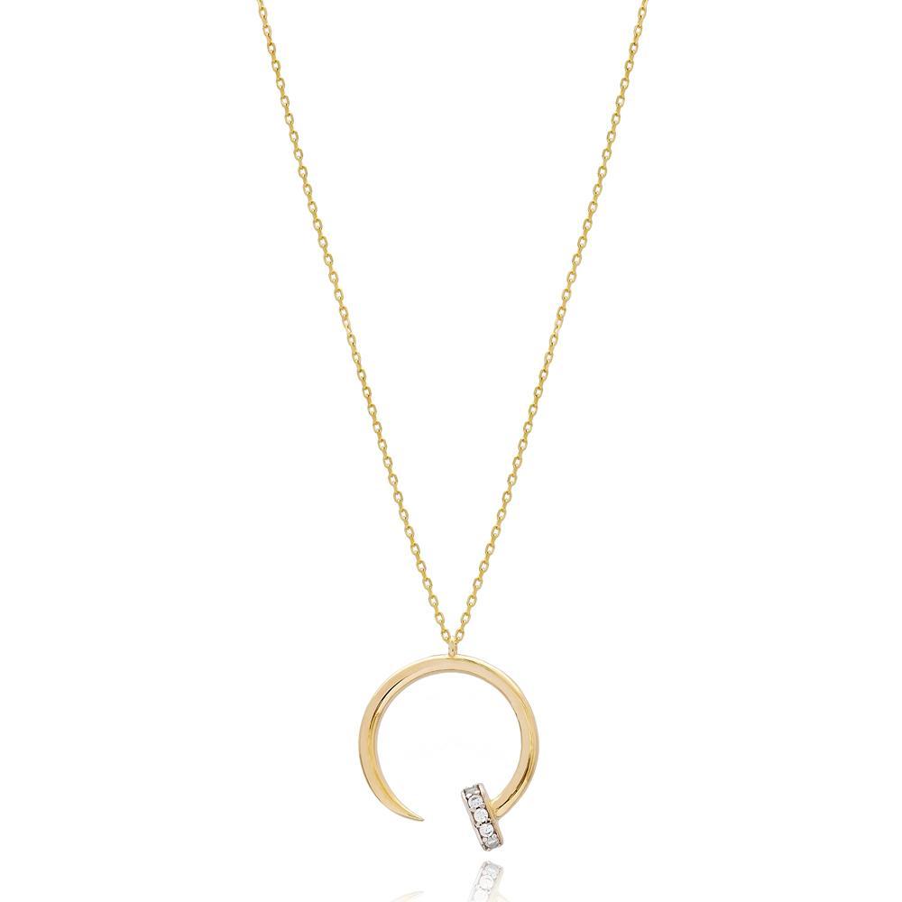 Bent Nail Design CZ Stone Wholesale 14k Gold Pendant