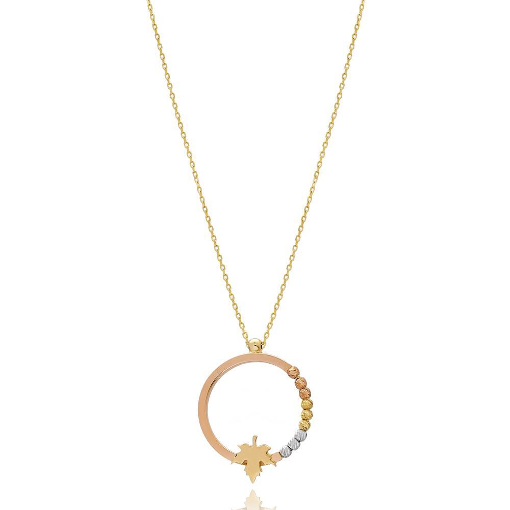 Minimal Grape Leaf Round Design Wholesale 14k Gold Pendant