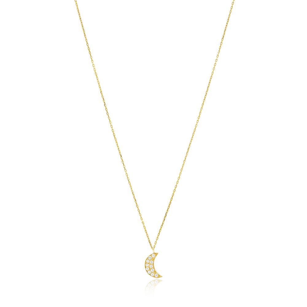Moon Crescent Wholesale Turkish 14k Gold Pendant