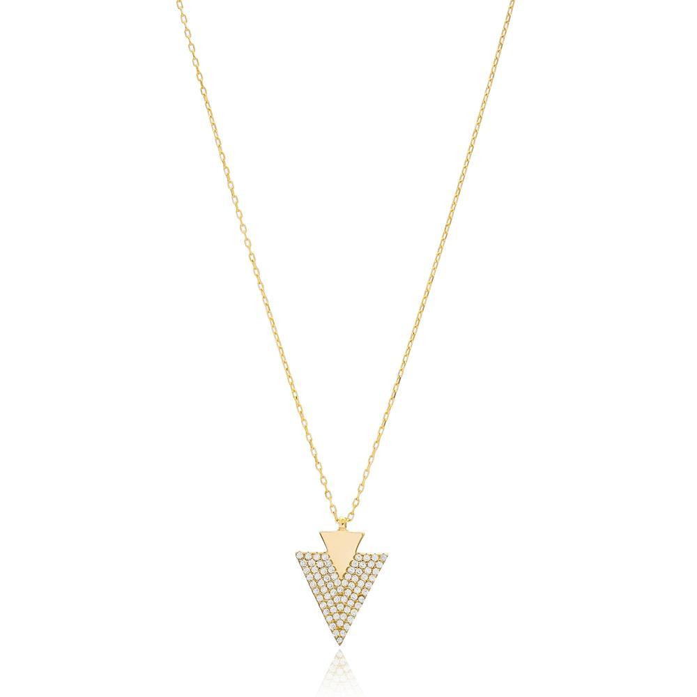Inlaid Triangle Wholesale Turkish 14k Gold Pendant