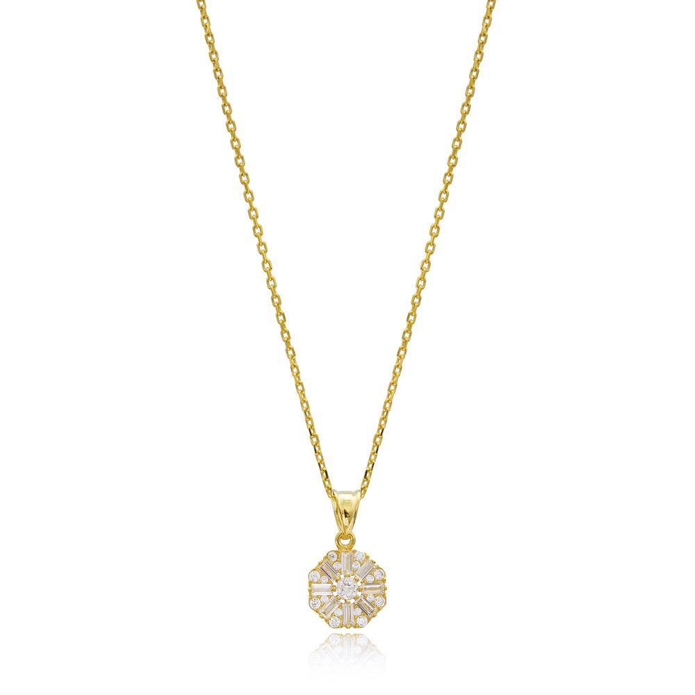 Dainty Baguette Stone Wholesale Turkish 14k Gold Necklace