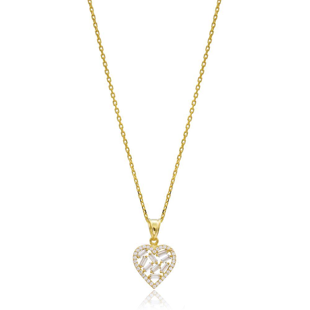 Baguette Heart Design Wholesale Turkish 14k Gold Necklace