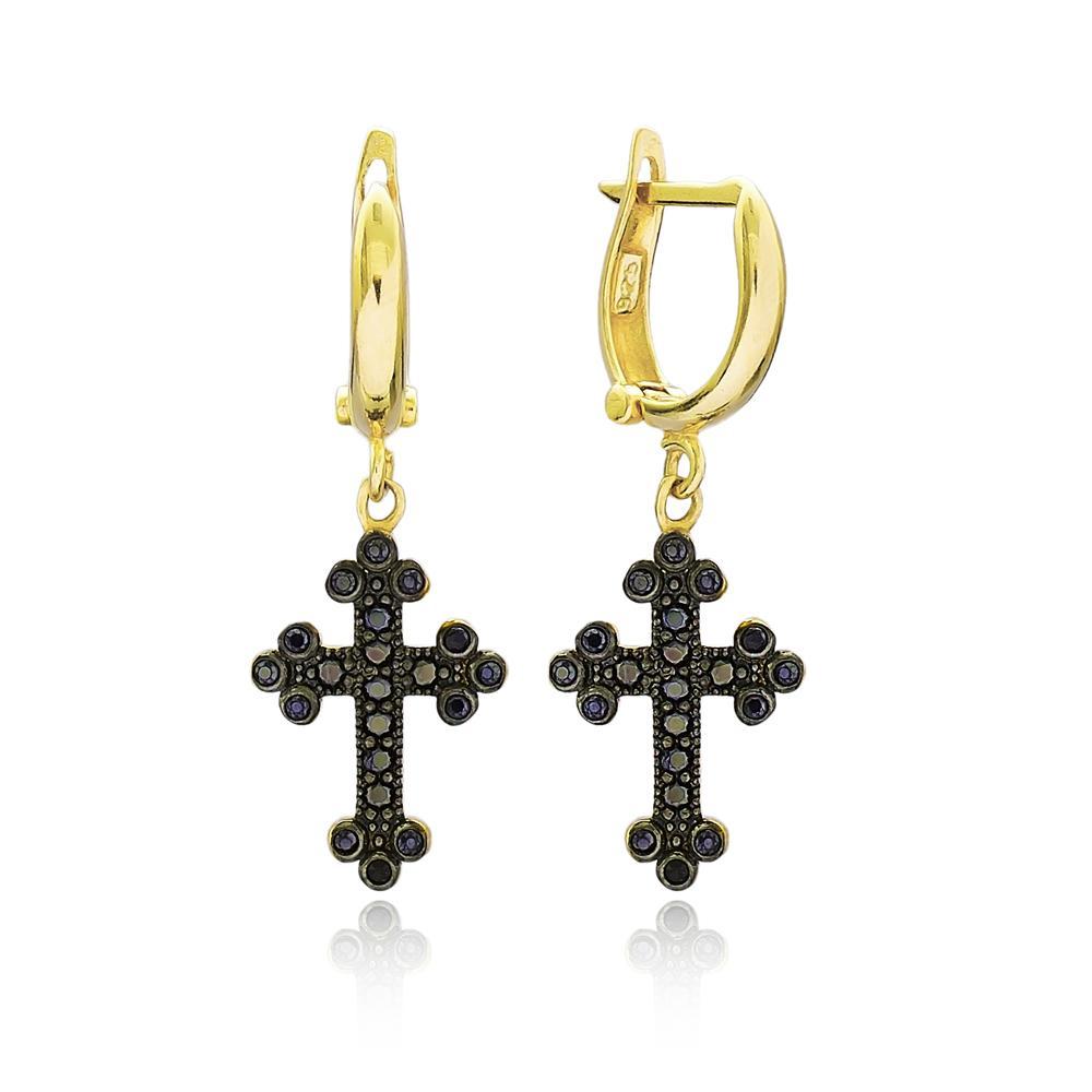 Gothic Cross Wholesale Turkish 14k Gold Dangle Earring