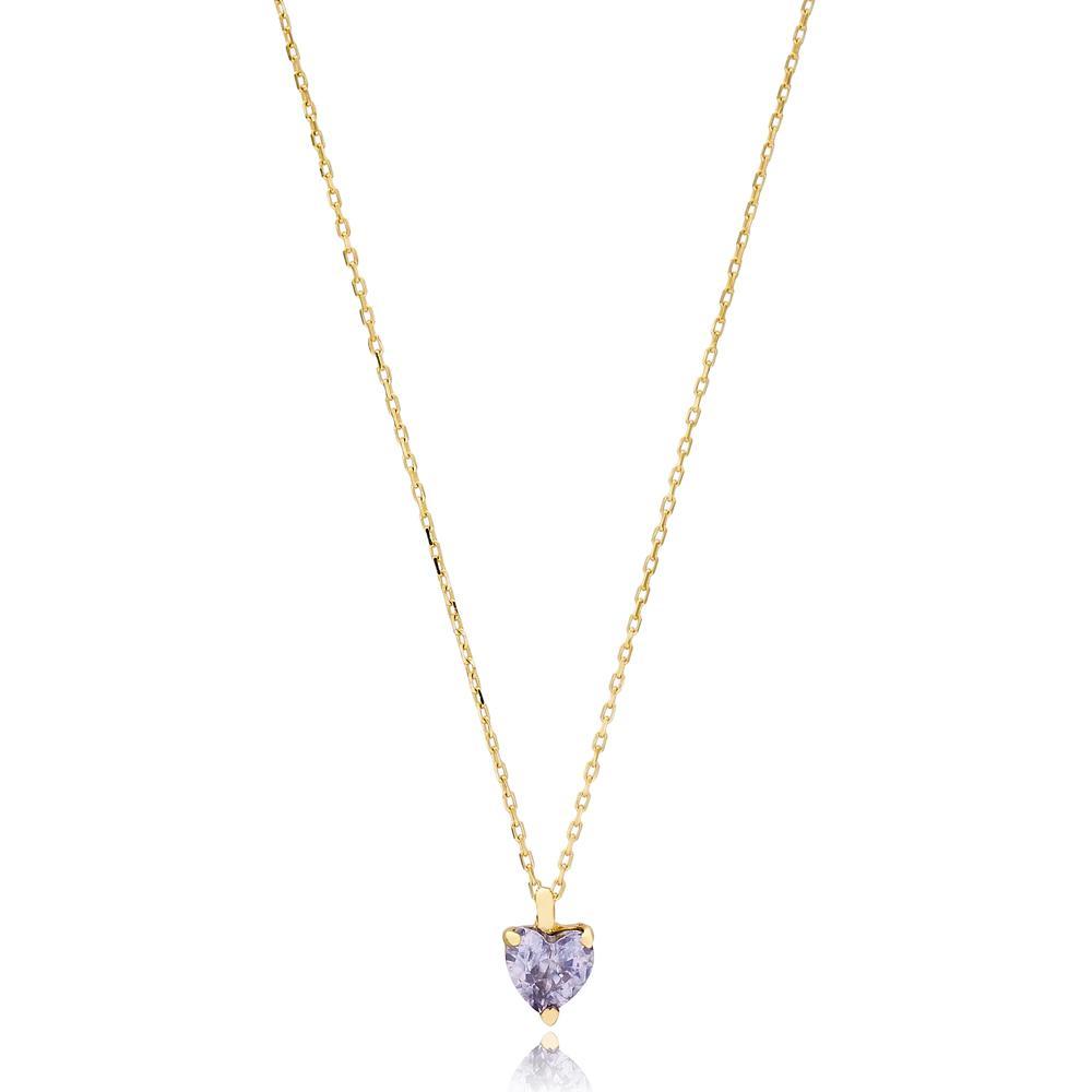 Heart Solitared Design Wholesale Turkish 14k Gold Necklace