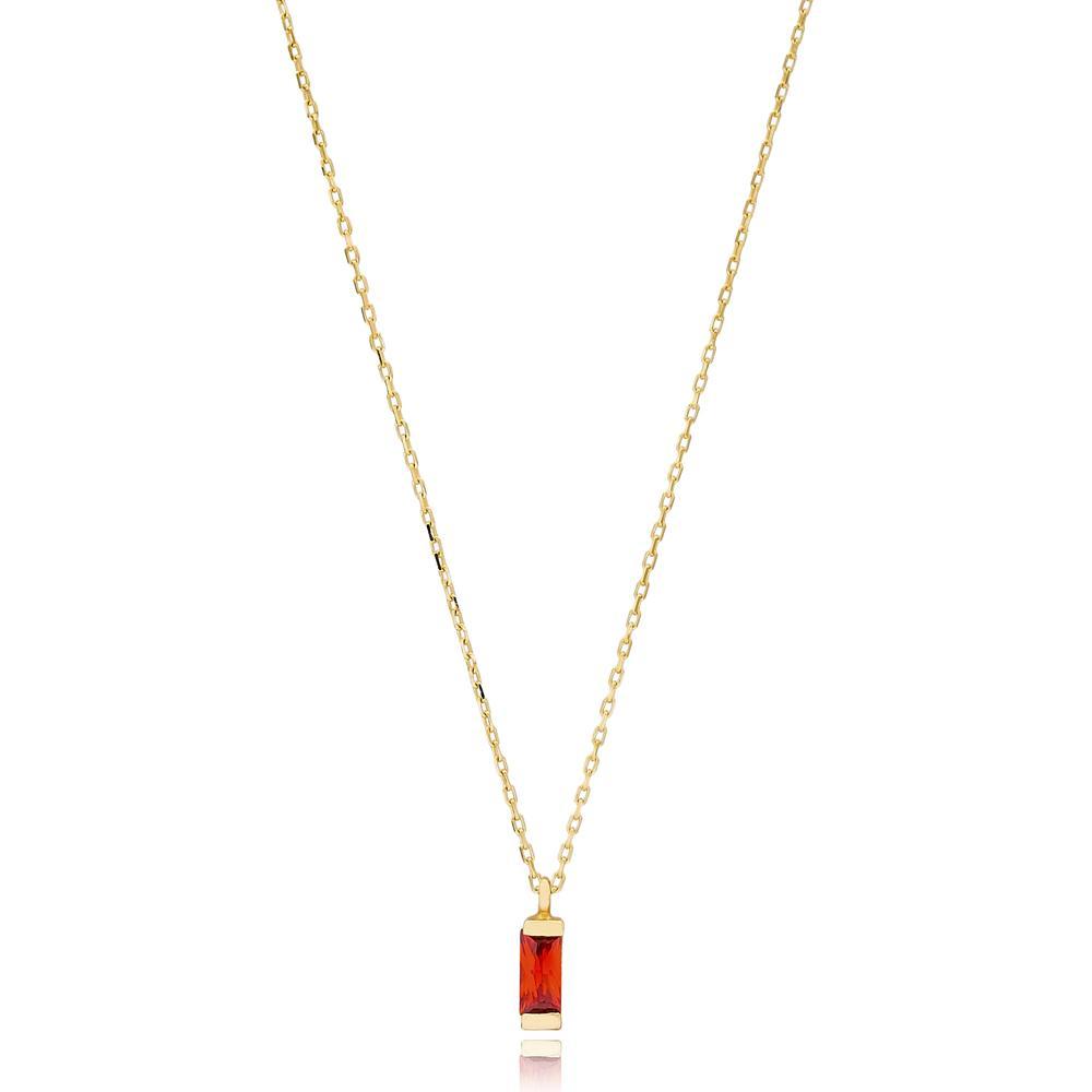 Baguette Solitared Wholesale Turkish 14k Gold Necklace