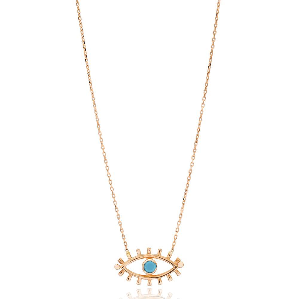 Evil Eye Design Turkish Wholesale 14k Gold Necklace