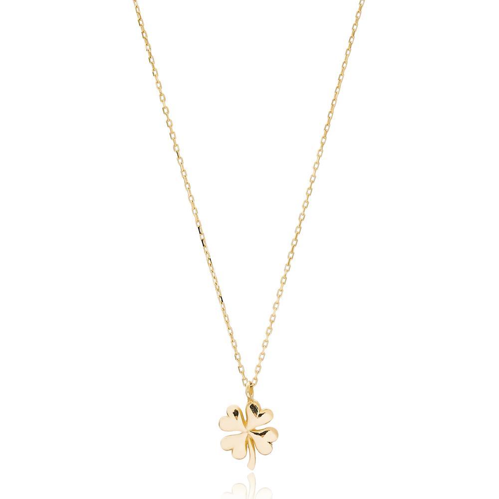 Clover Leaf Design Turkish Wholesale 14k Gold Necklace