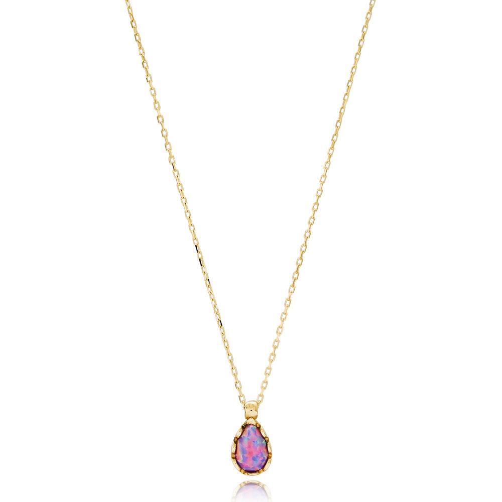 Pear Shape Turkish Wholesale 14k Gold Necklace