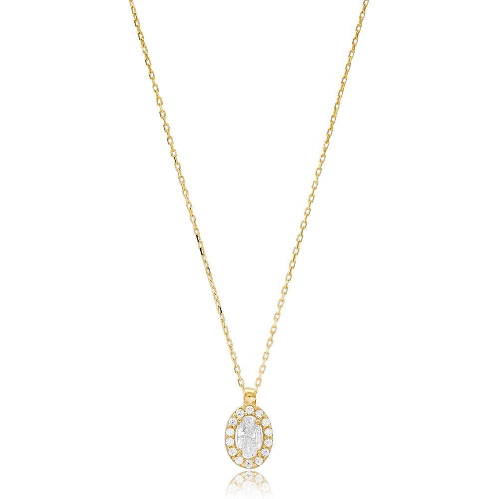 Minimal Solitaire Turkish Wholesale 14k Gold Necklace