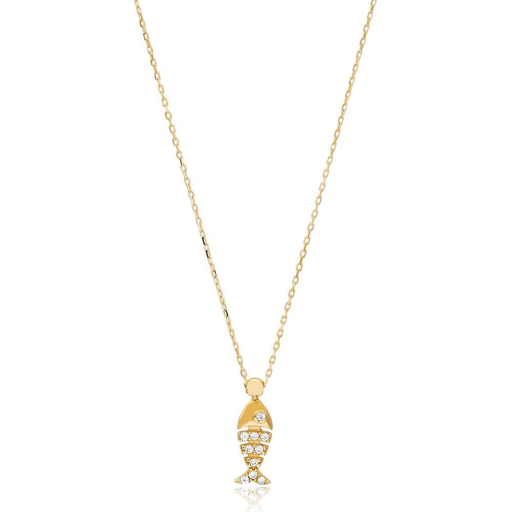 Fish Design Turkish Wholesale 14k Gold Necklace
