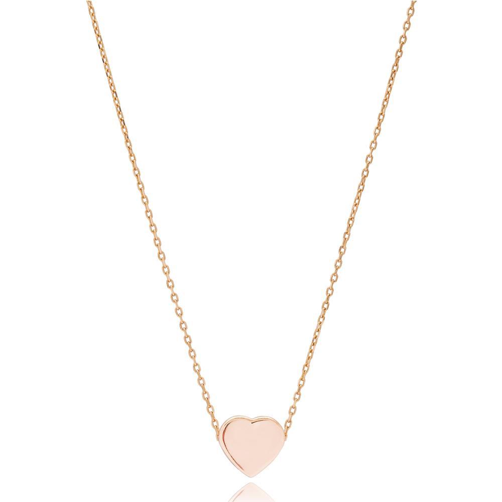 Minimal Heart Turkish Wholesale Handmade 14k Gold Necklace