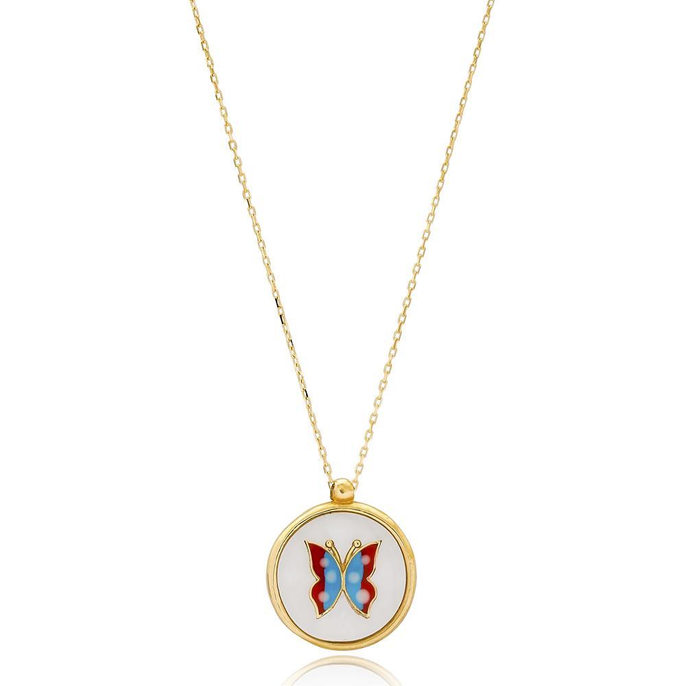 Enamel Butterfly Turkish Wholesale Handmade 14k Gold Necklace