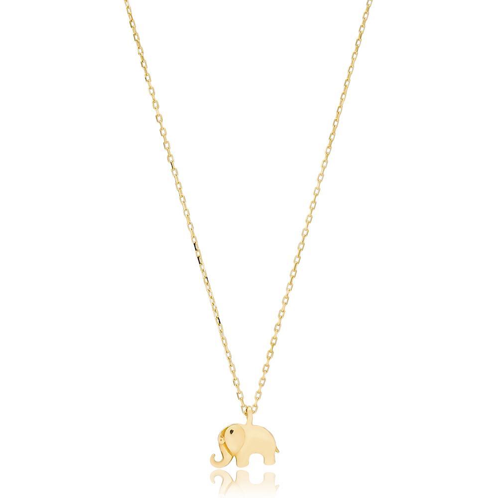 Minimal Elephant Turkish Wholesale Handmade 14k Gold Necklace
