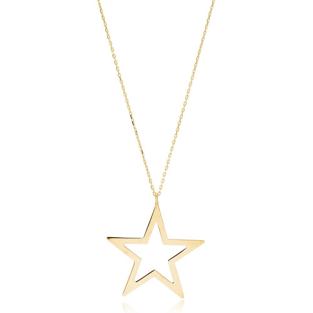 Smooth Star Design Wholesale Handmade 14k Gold Necklace