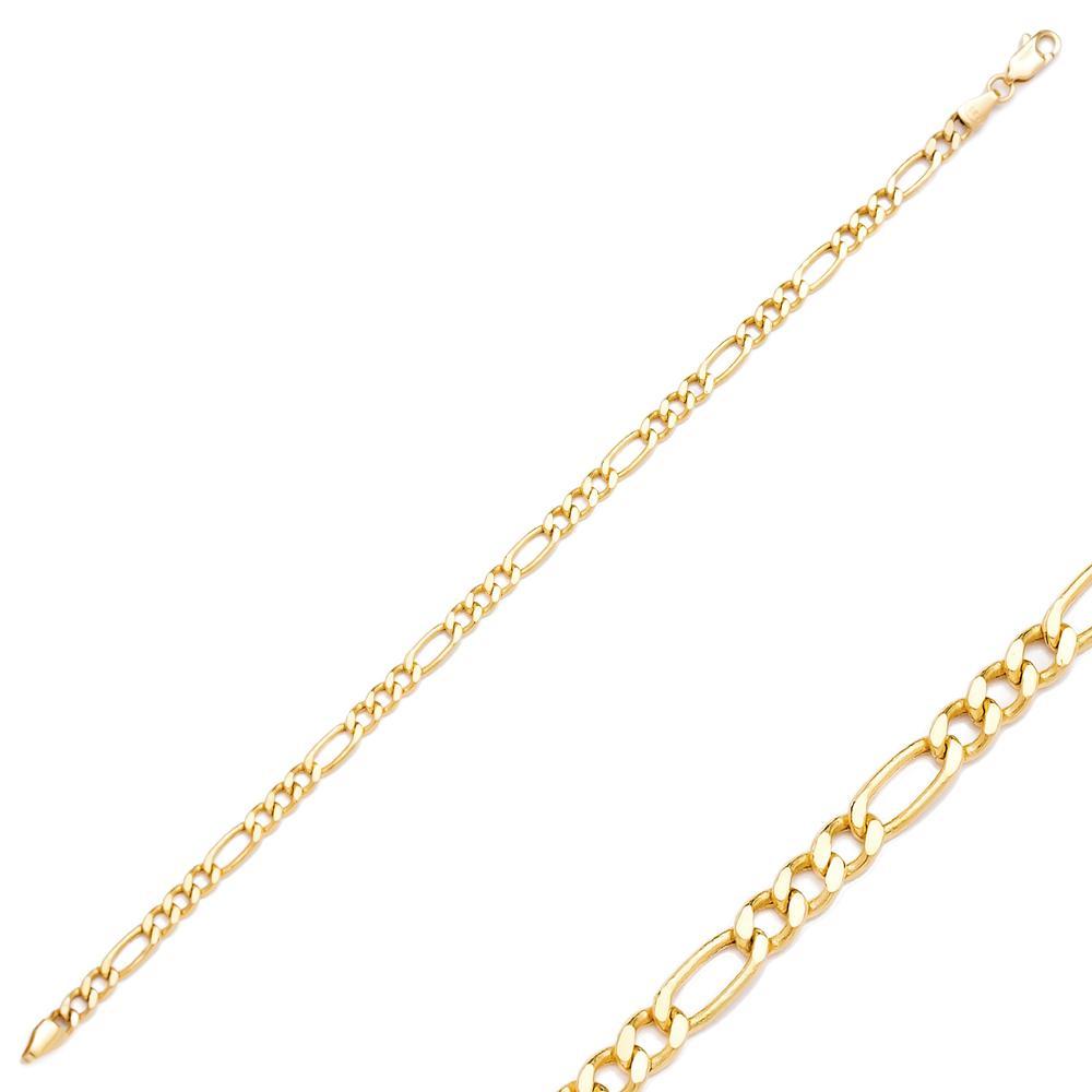 Figaro Chain Turkish Wholesale 14k Gold Bracelet