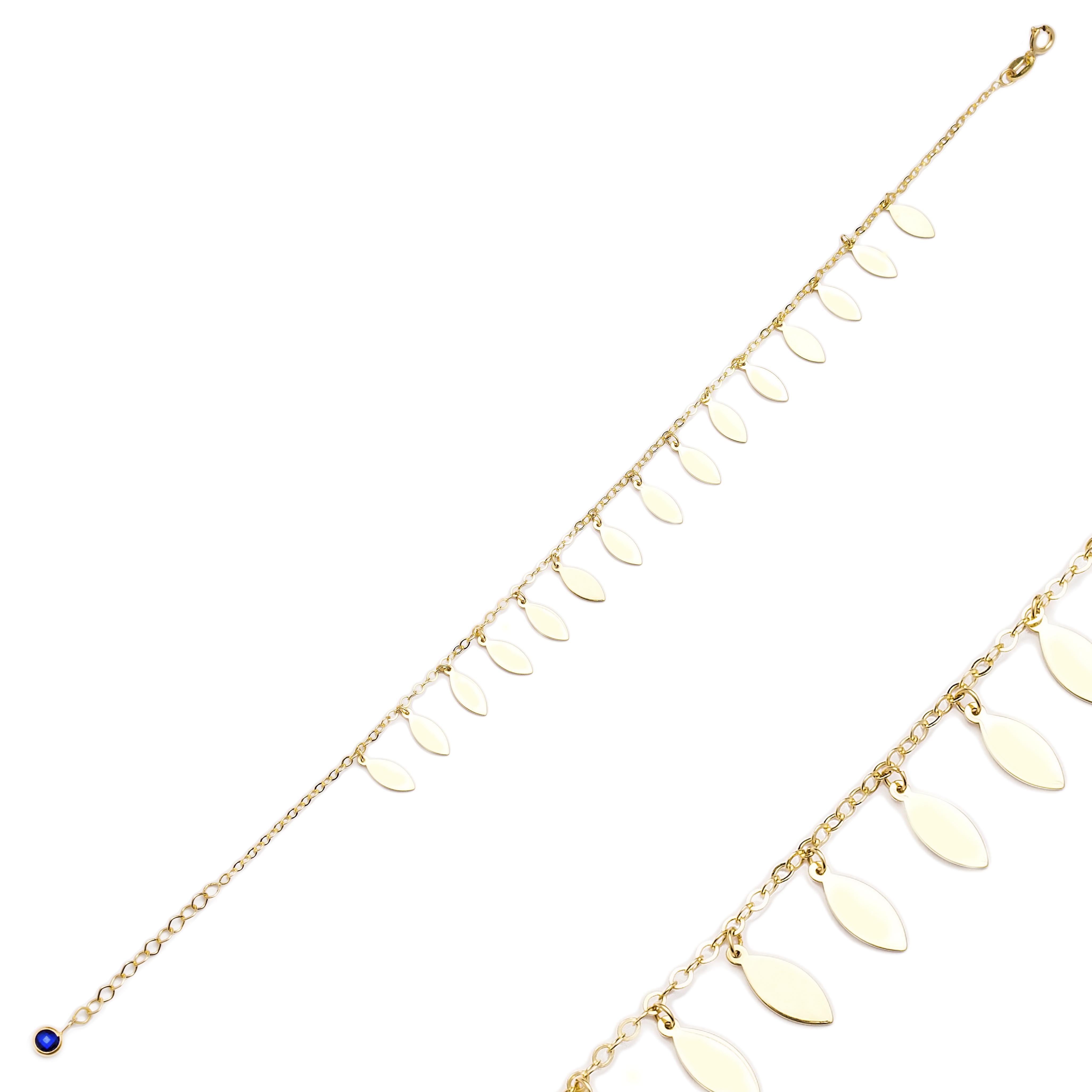 Wholesale Shaker Minimalist Almond Shape 10k Gold Bracelet