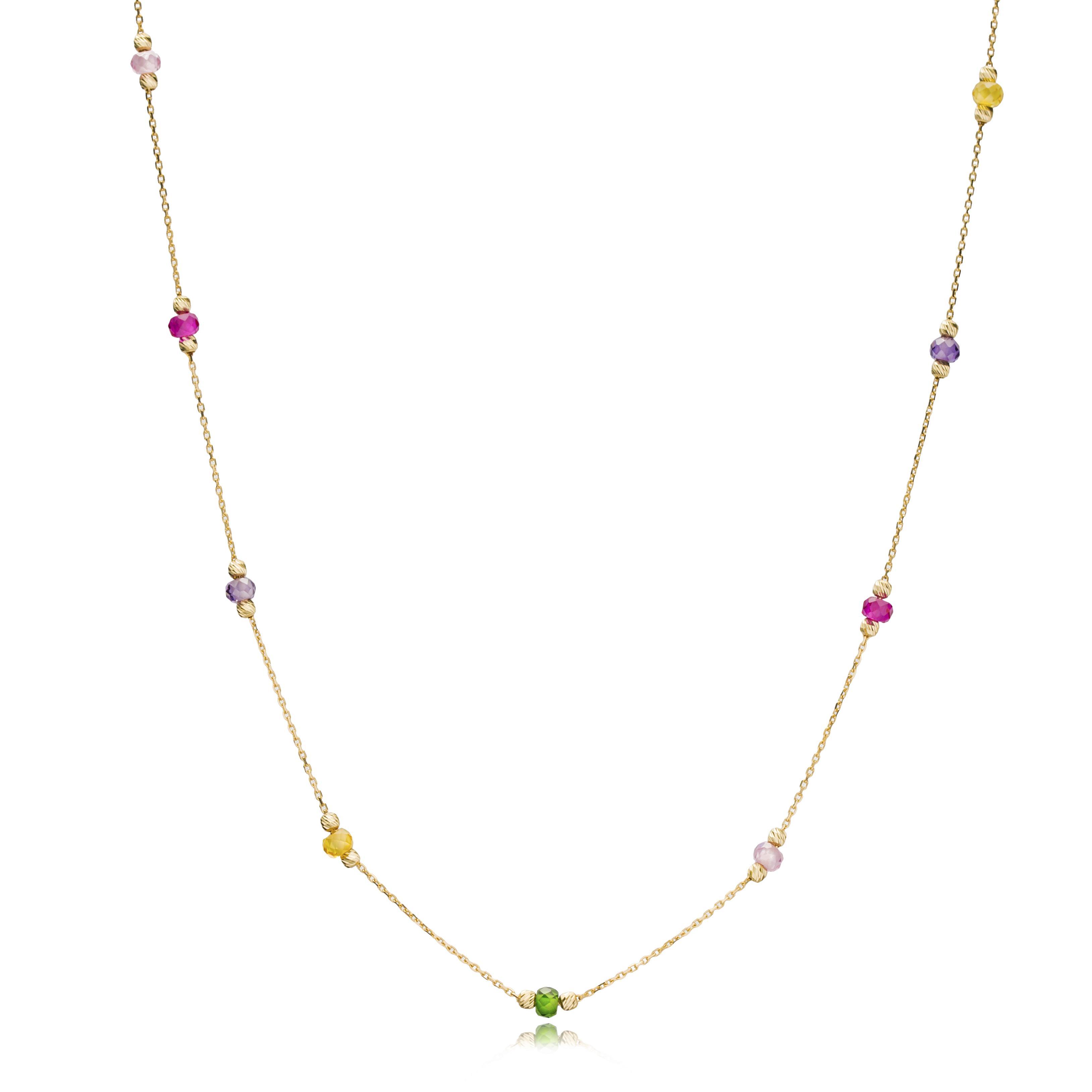 14K Gold Elegant Colorful Stone Pendant Wholesale Handmade Turkish Jewelry