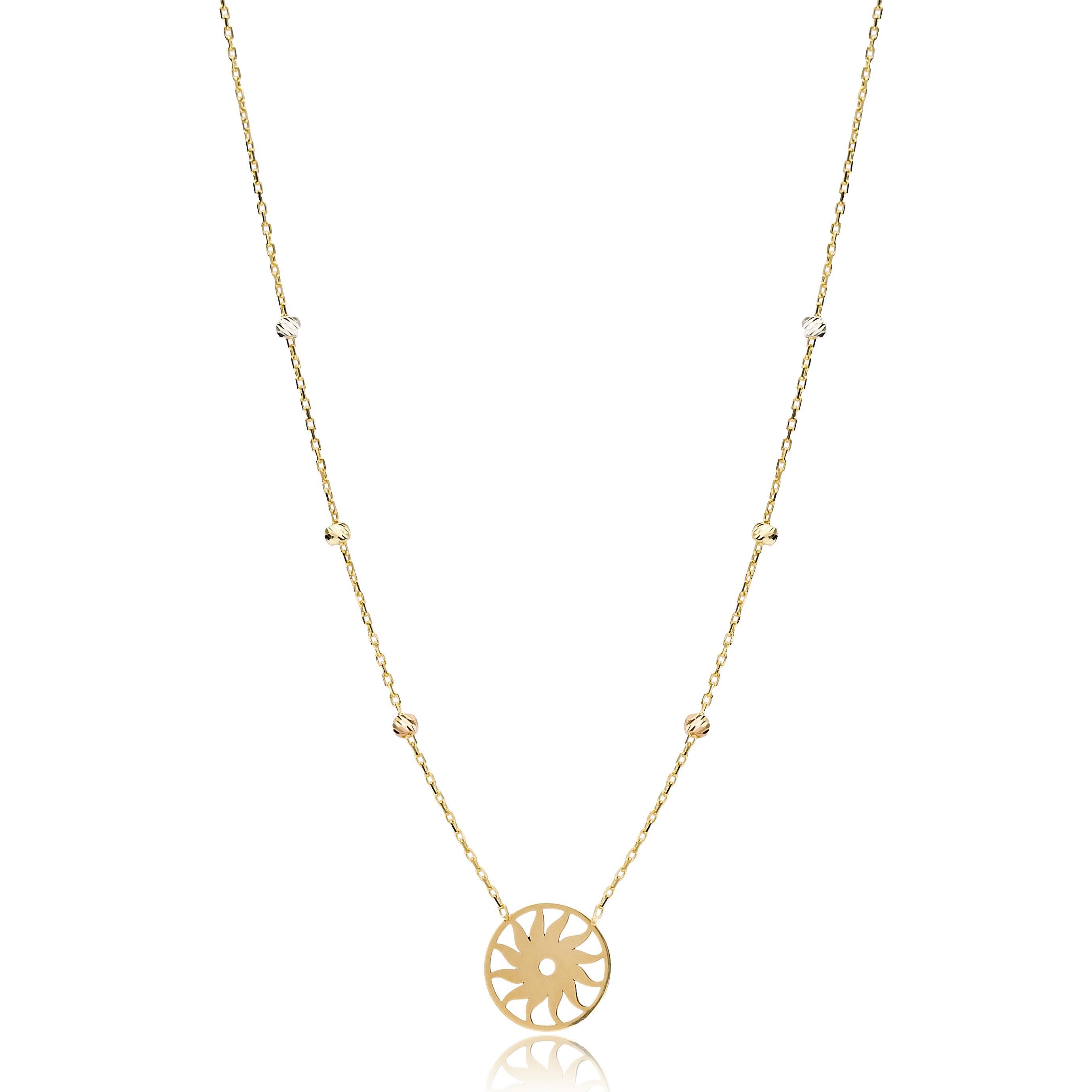 Sun Shape Necklace Wholesale Handmade Turkish 14K Jewelry