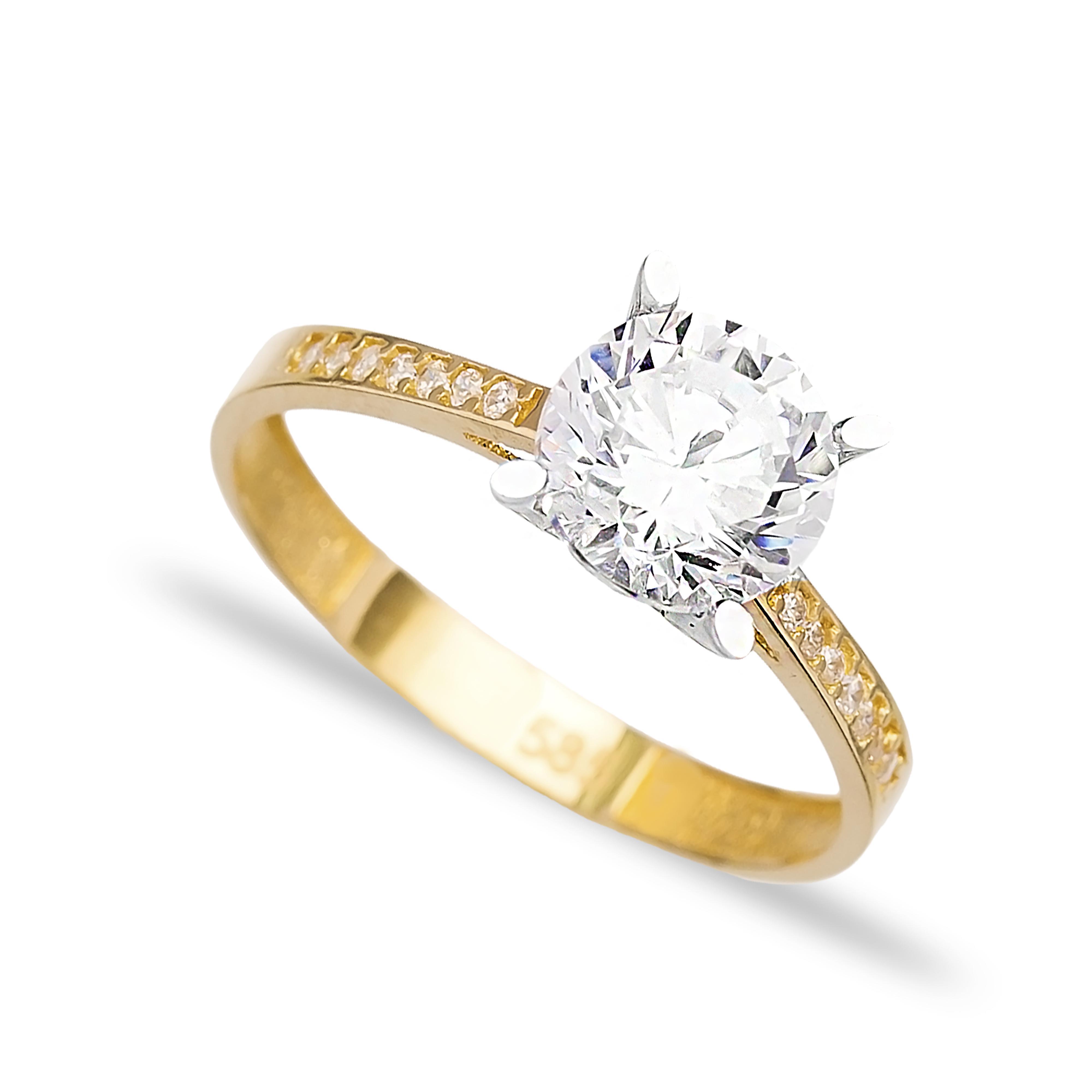 Engagement Solitaire 14 Karat Gold Zirconia 7.5 mm Wholesale Handmade Turkish Jewelry