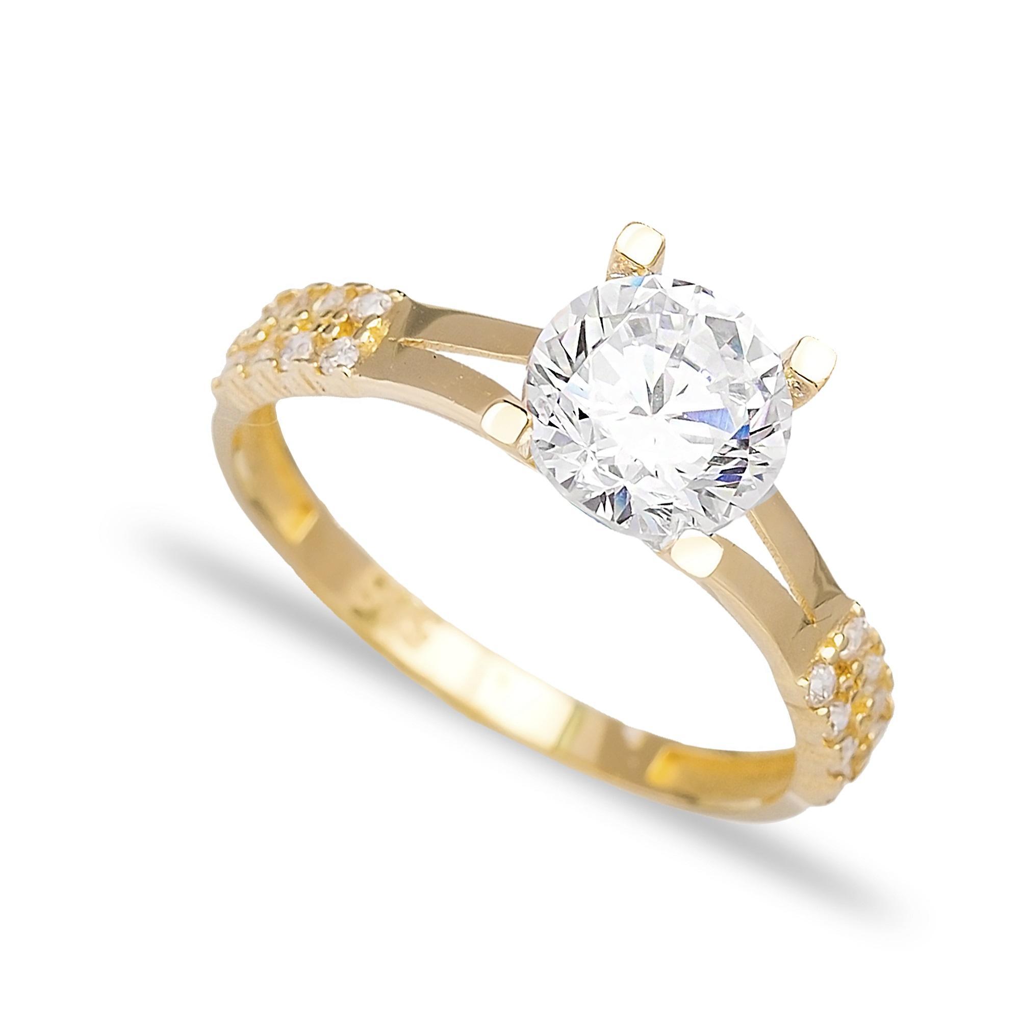 Engagement Solitaire 14 Karat Gold Zirconia 7 mm Wholesale Handmade Turkish Jewelry