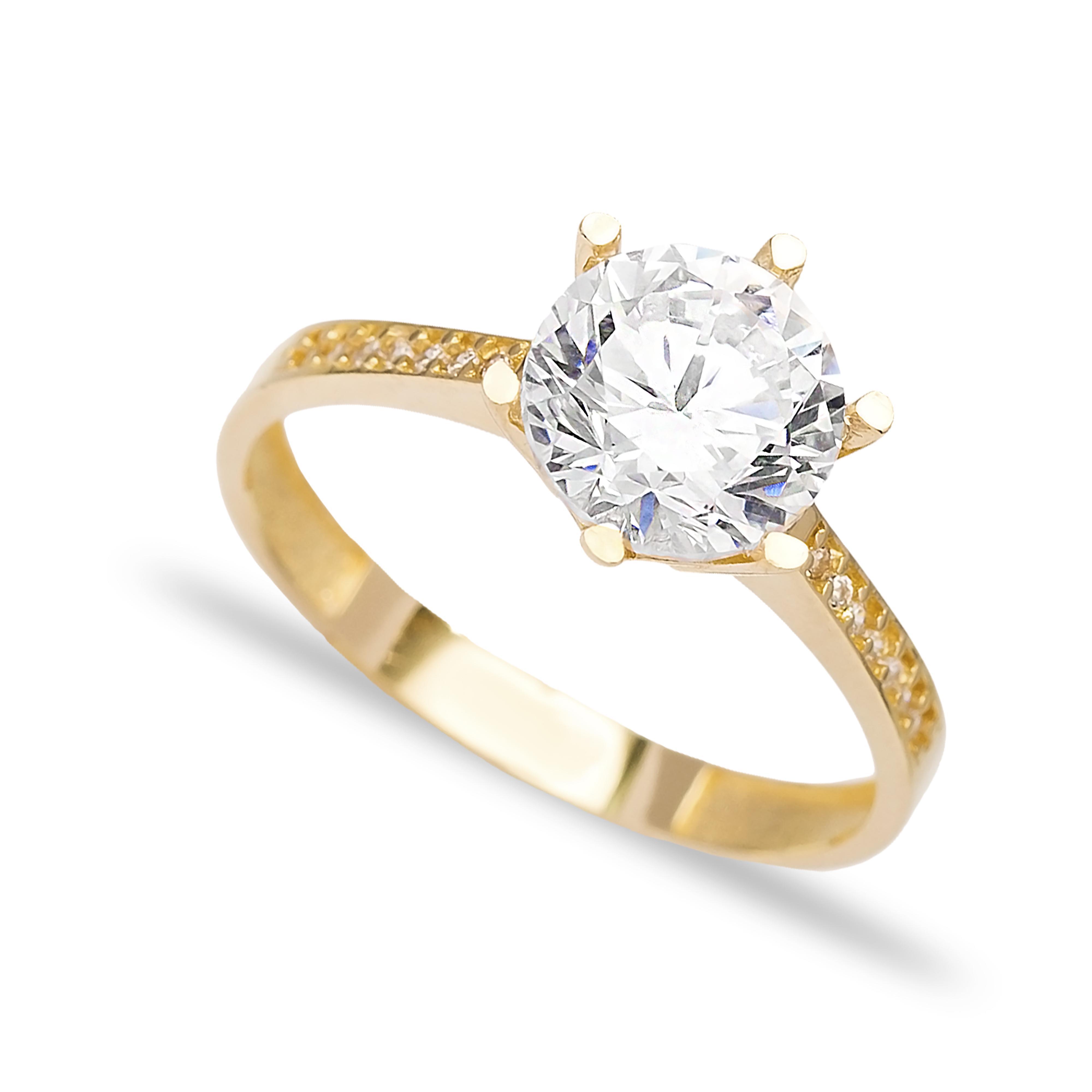 Engagement Solitaire 14 Karat Gold Zirconia 8mm Wholesale Handmade Turkish Jewelry