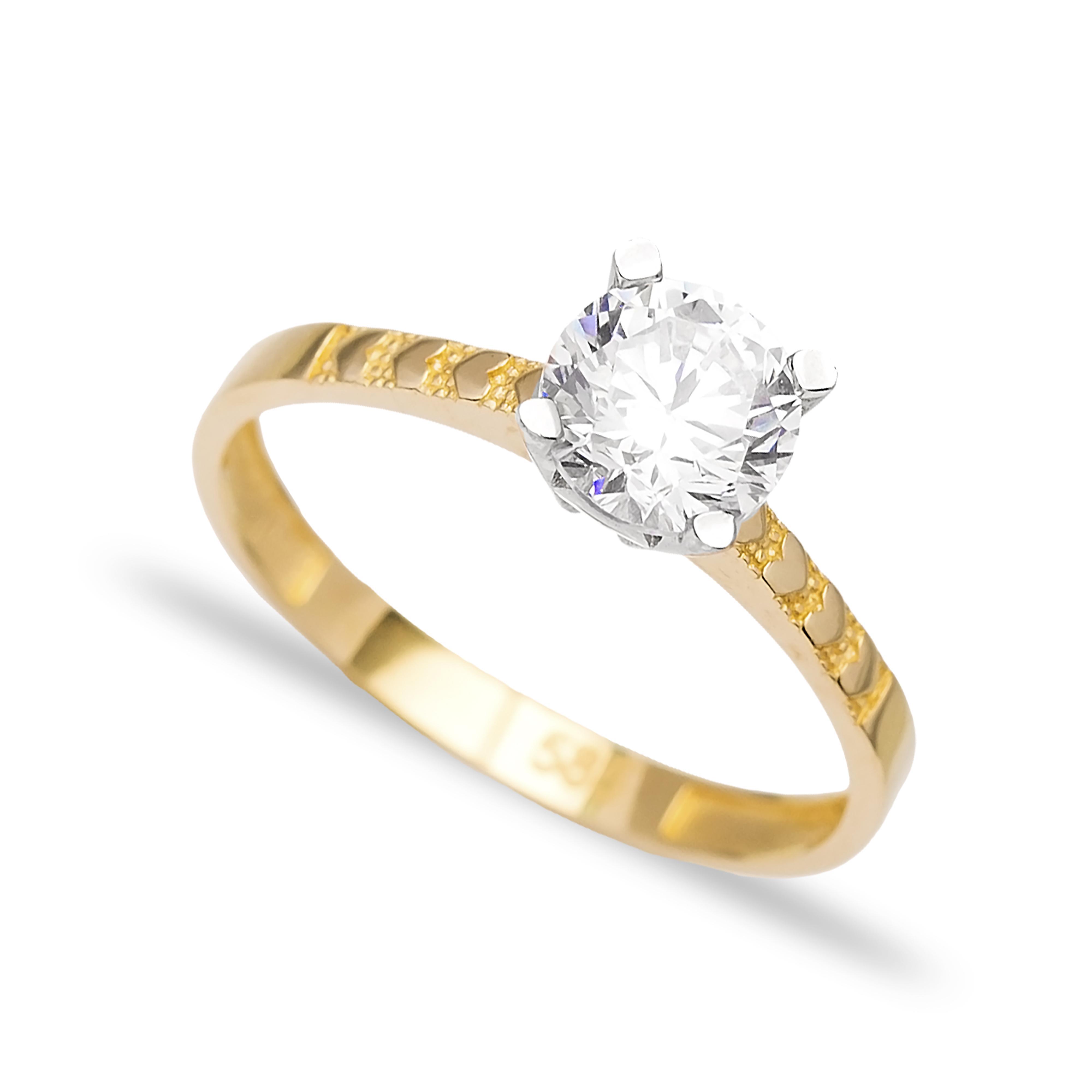 Engagement Solitaire 14 Karat Gold Zirconia 7mm Wholesale Handmade Turkish Jewelry
