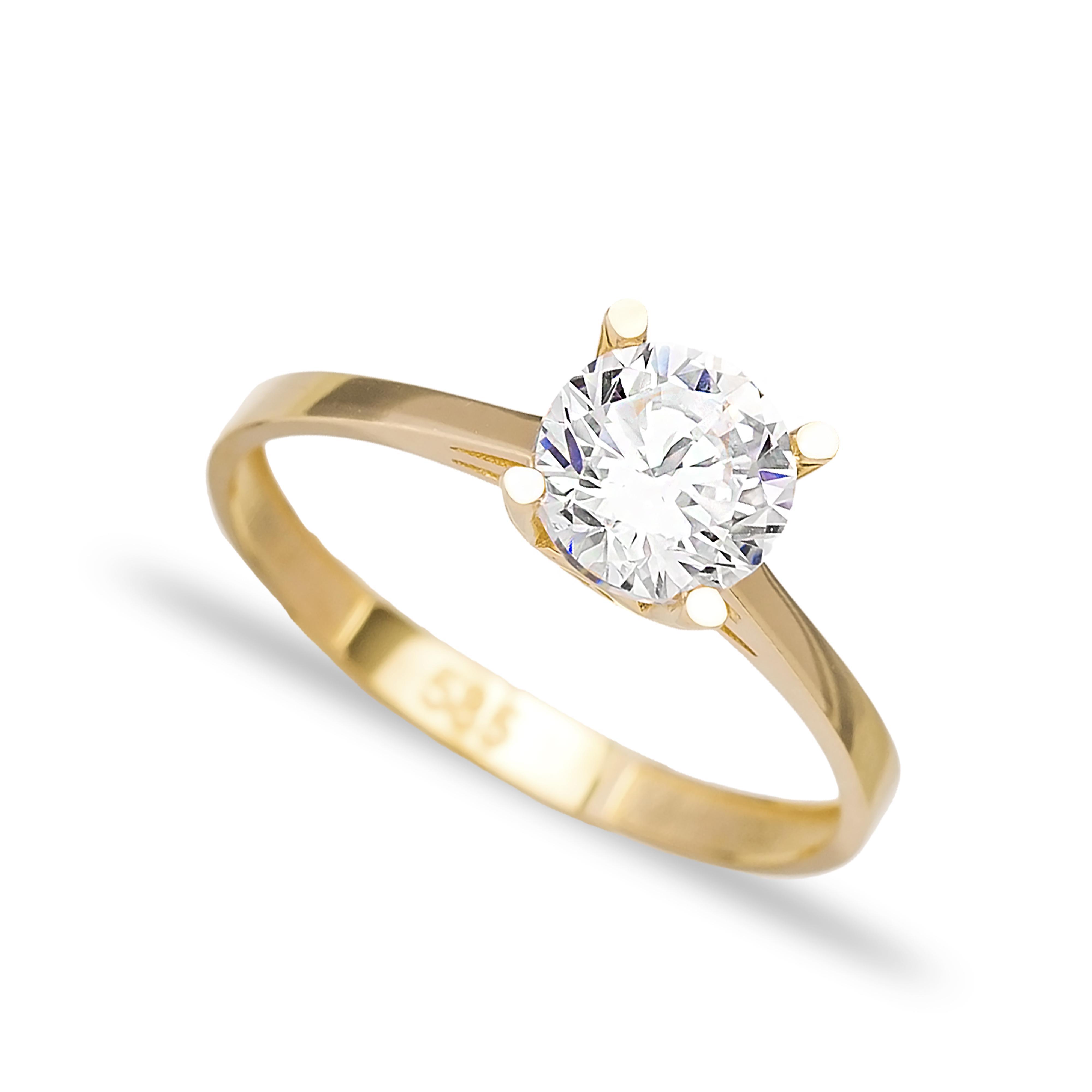 Engagement Solitaire 14 Karat Gold Zircon 6.5mm Wholesale Handmade Turkish Jewelry