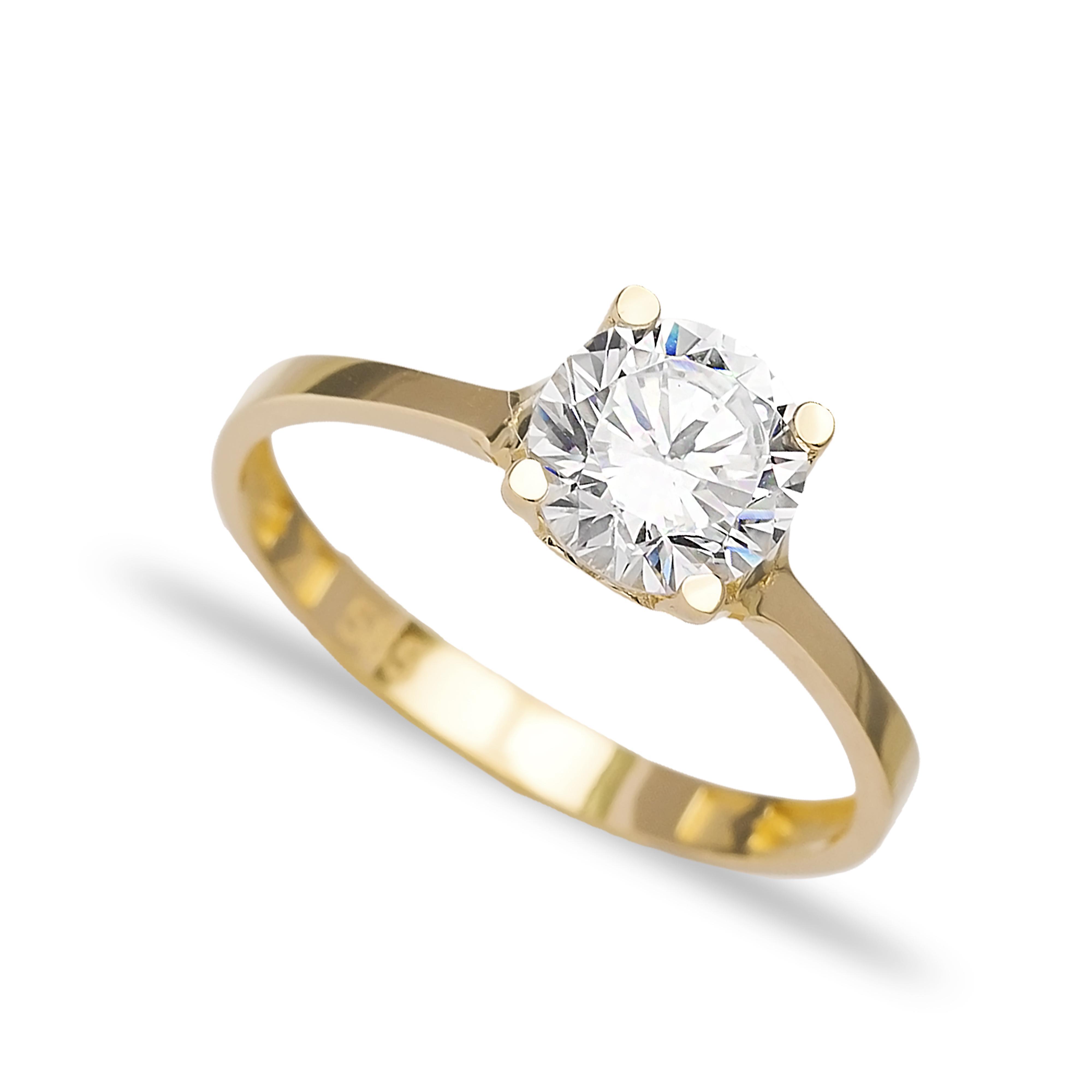 Engagement Solitaire 14 Karat Gold Zircon 7mm Wholesale Handmade Turkish Jewelry