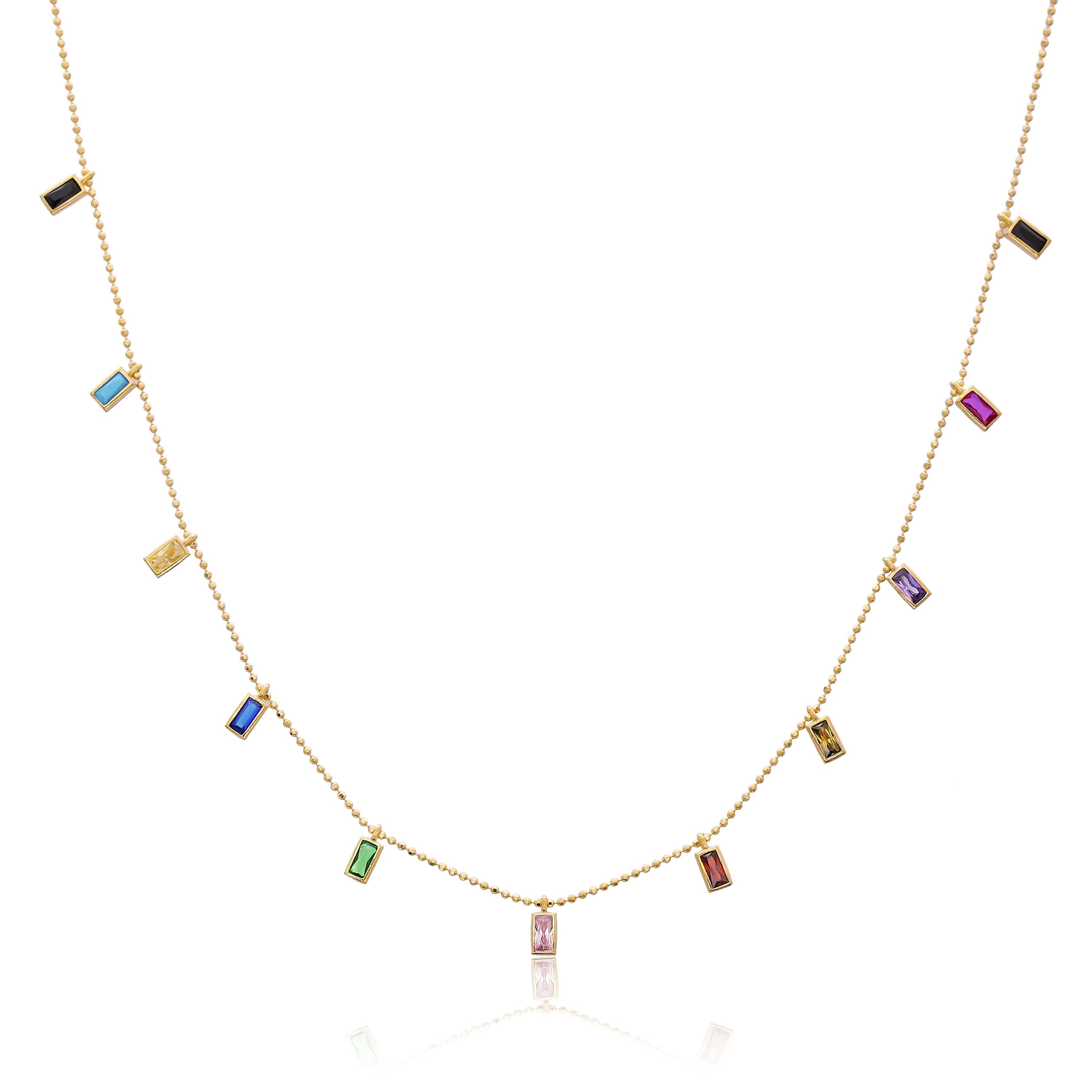14K Gold Elegant Shaker Baguette Shape Stone Pendant Wholesale Handmade Turkish Jewelry