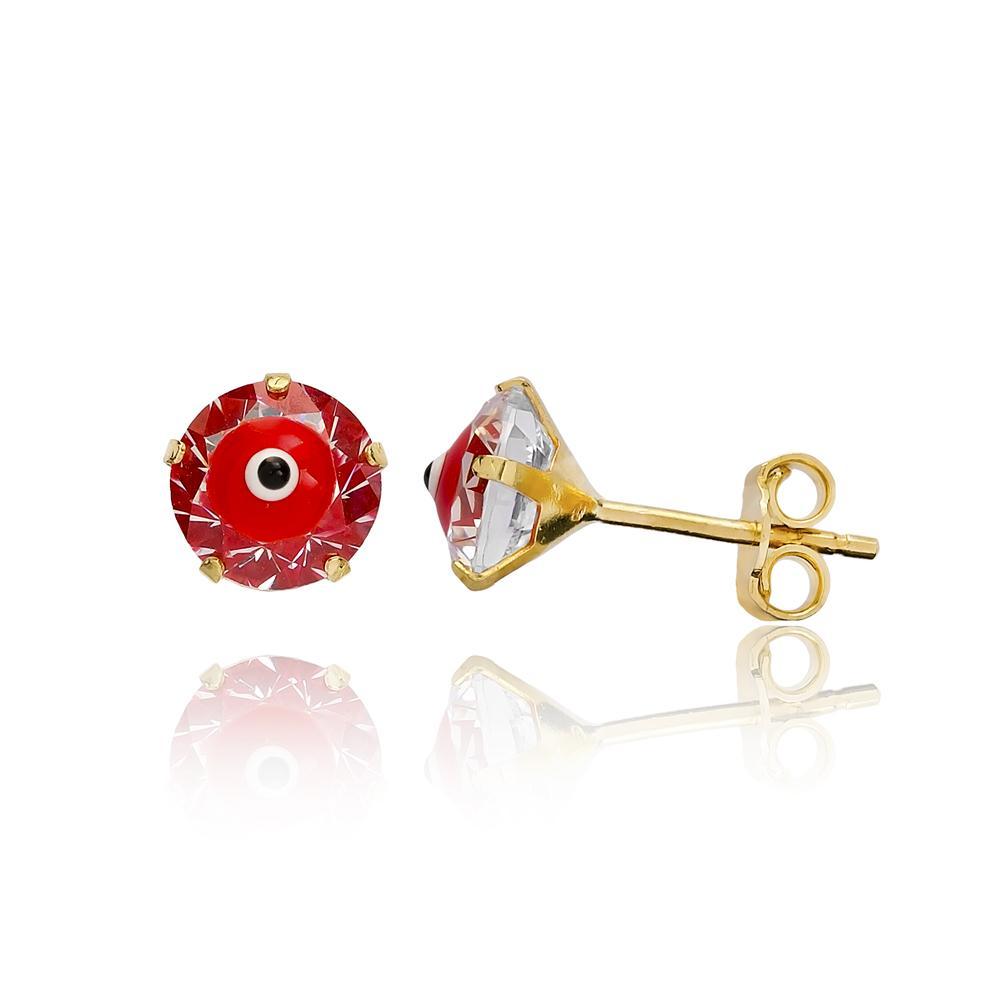AAA+ Zircon With Red Enamel Red Evil Eye Earring Wholesale Turkish 14k Gold Stud Earring