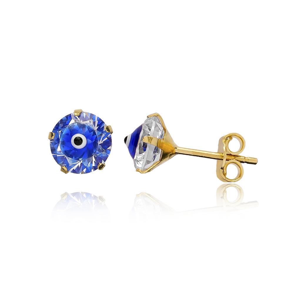 AAA+ Zircon With Blue Enamel Red Evil Eye Earring Wholesale Turkish 14k Gold Stud Earring