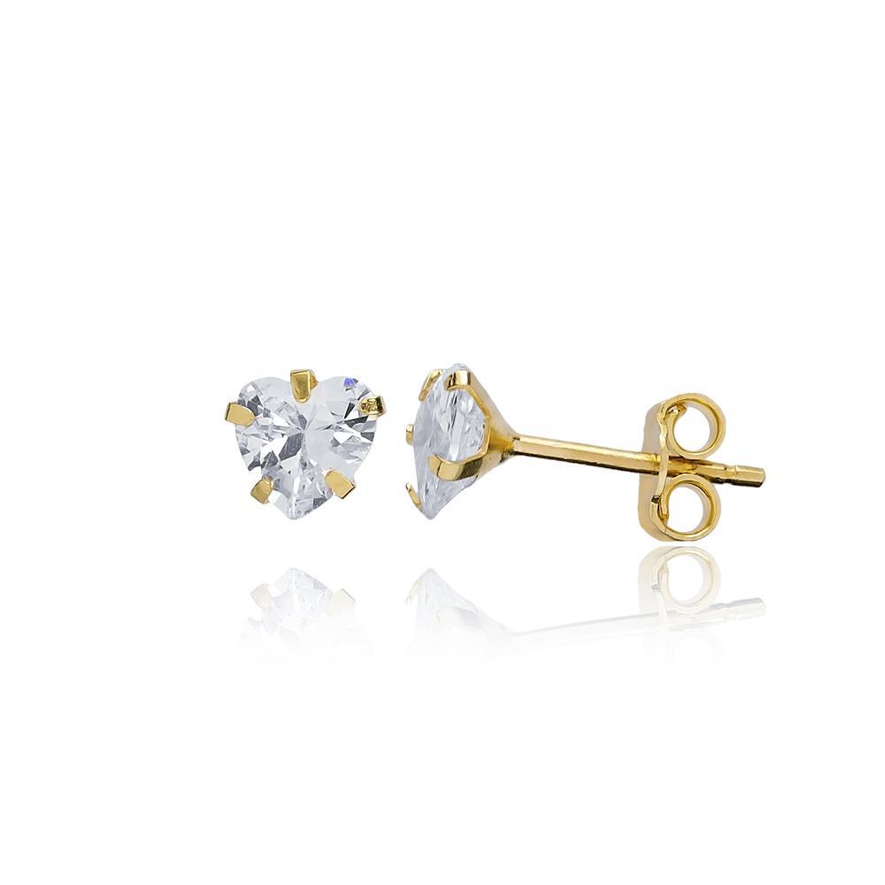 Heart Shape Stone Earring Wholesale Turkish 14k Gold Stud Earring