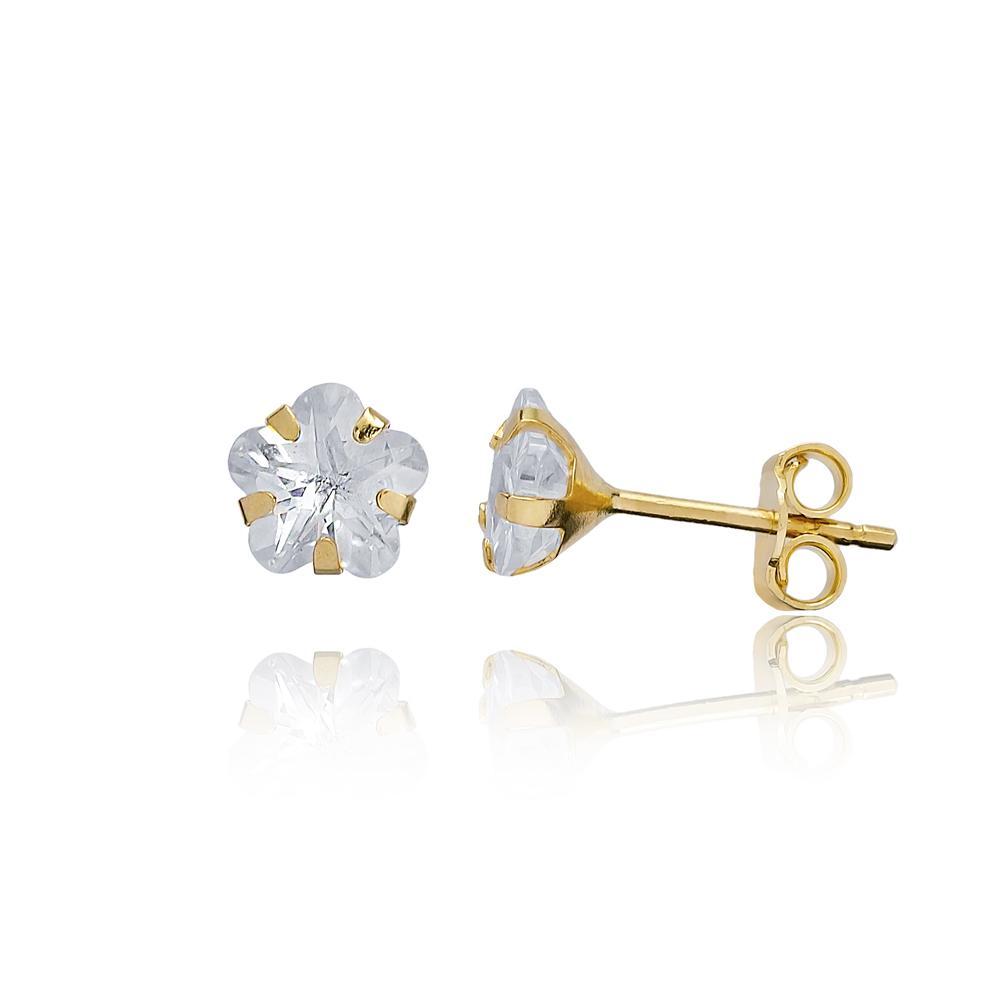 Star Shape Stone Earring Wholesale Turkish 14k Gold Stud Earring