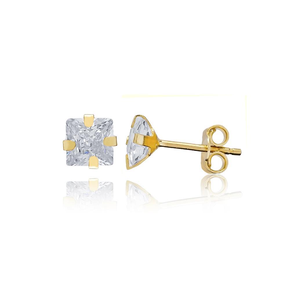 Princess Shape Stone Earring Wholesale Turkish 14k Gold Stud Earring