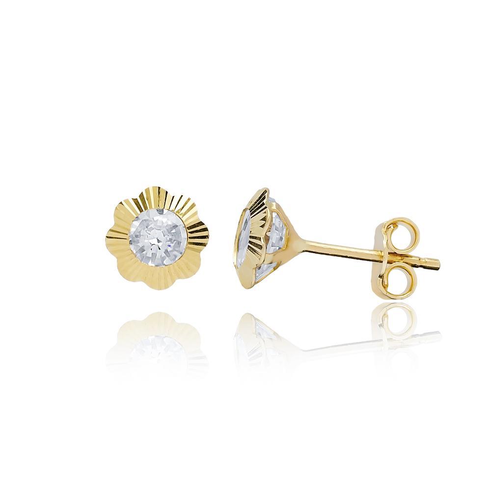 Round Shape Stone Flower Earring Wholesale Turkish 14k Gold Stud Earring