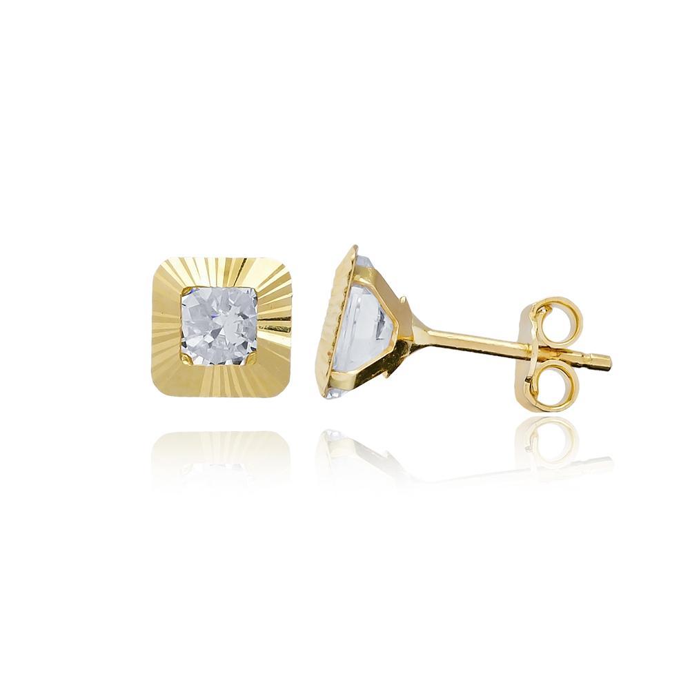 Princess Shape AAA+ Zircon Stone Earring Wholesale Turkish 14k Gold Stud Earring