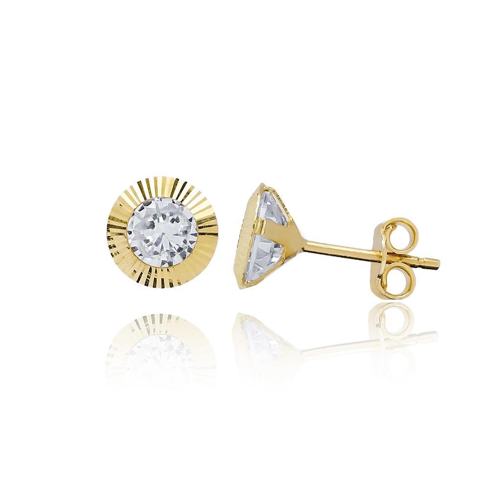 Round Shape Stone Earring Wholesale Turkish 14k Gold Stud Earring