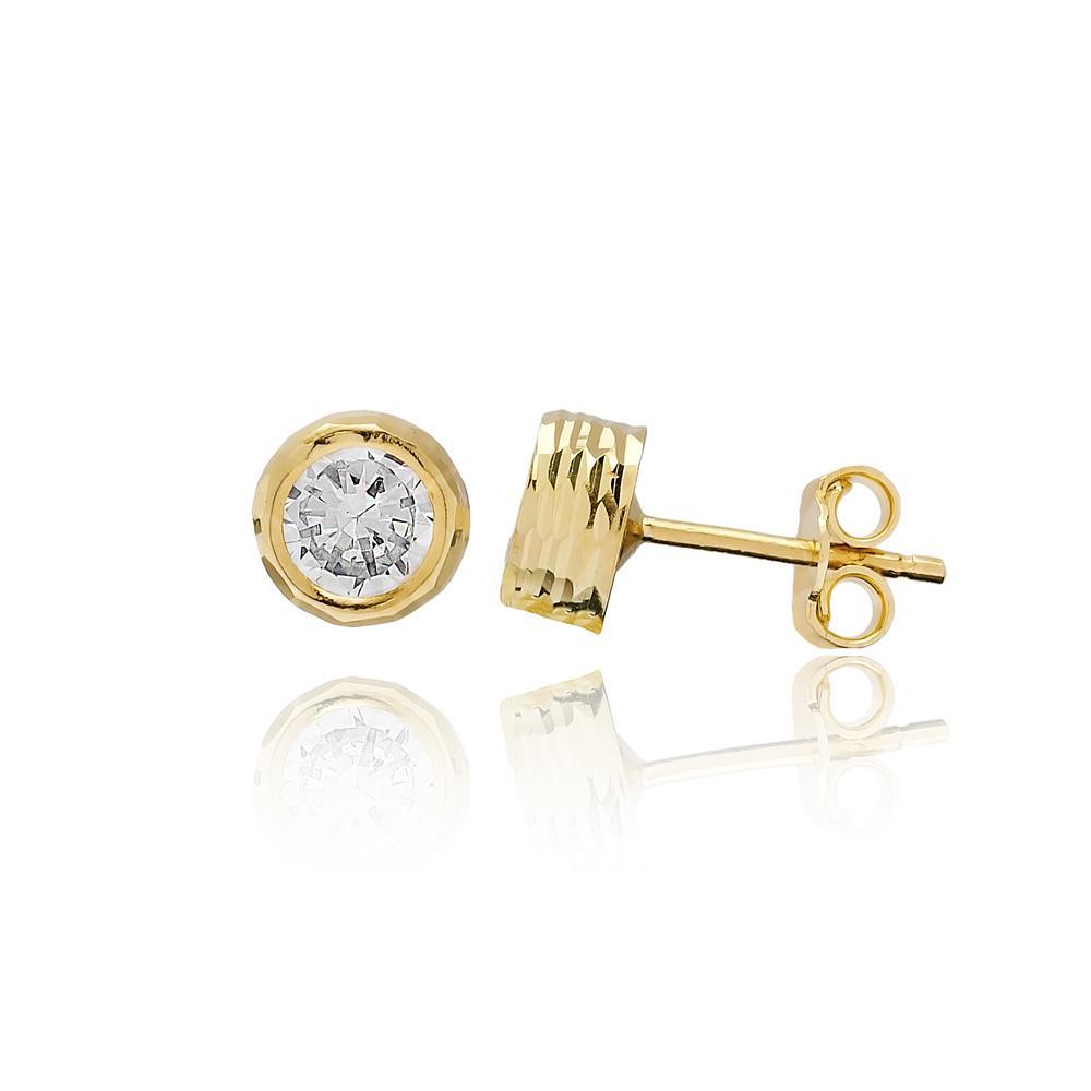 Round Shape AAA+ Zircon Stone Earring Wholesale Turkish 14k Gold Stud Earring