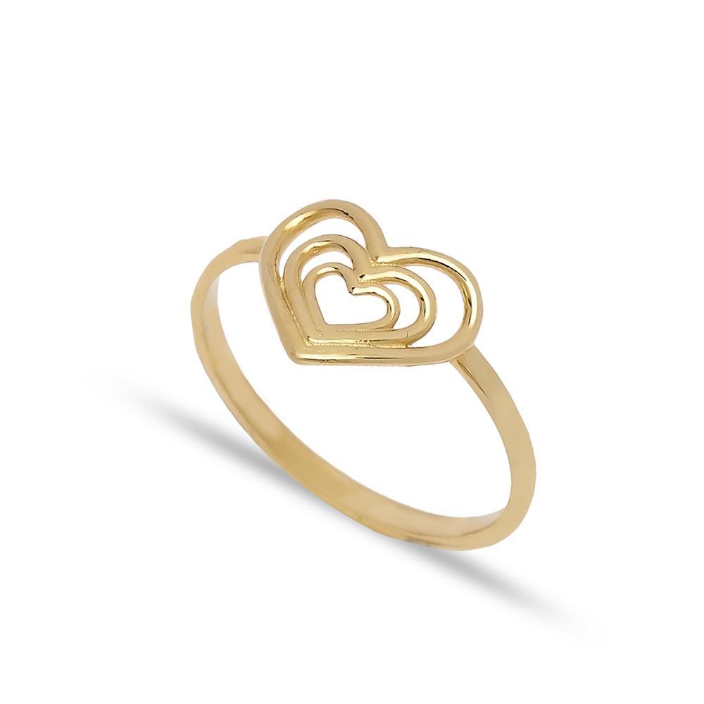 Triple Heart Design Ring 14 k Wholesale Handmade Turkish Gold Jewelry