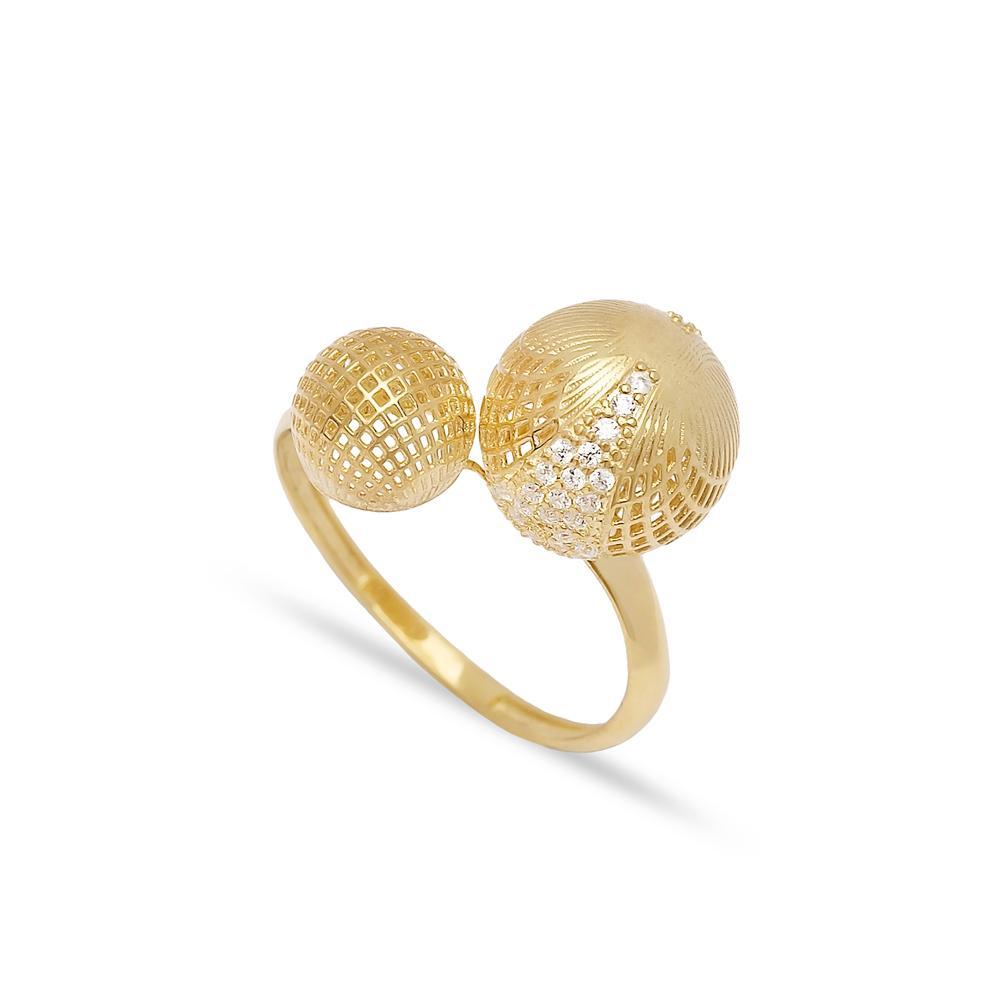Dual Ball Design Ring 14 k Wholesale Handmade Turkish Gold Jewelry