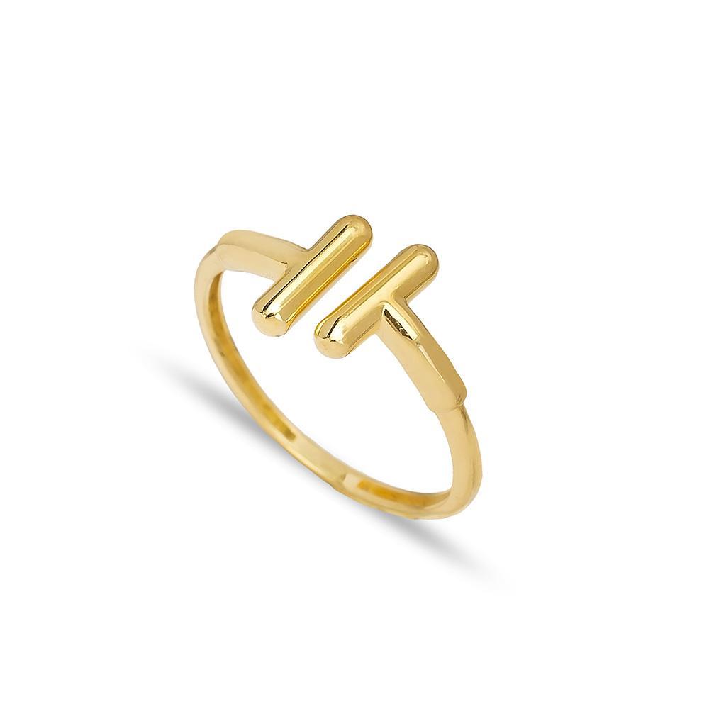 Geometric Design Ring 14 k Wholesale Handmade Turkish Gold Jewelry